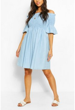 Light blue blue Chambray Shirred Off Shoulder Skater Dress