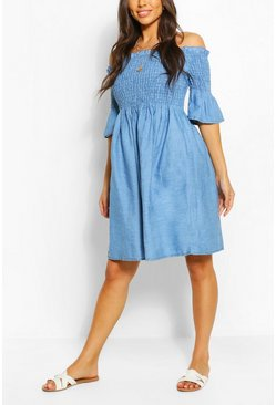 Mid blue blue Chambray Shirred Off Shoulder Skater Dress