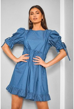 Mid blue blue Chambray Shirred Frill Detail Shift Dress
