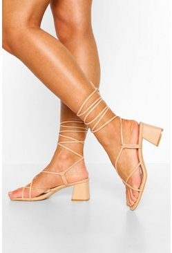 Nude Strappy Low Block Heel Sandals