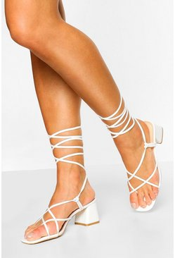 White Strappy Low Block Heel Sandals