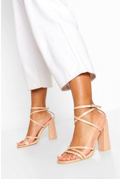 Nude Strappy Block Heel Sandals