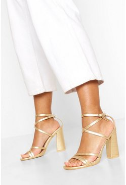 Gold Strappy Block Heel Sandals