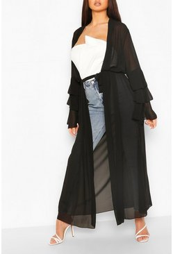 Black Tiered Sleeve Maxi Belted Kimono
