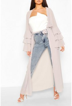 Grey Tiered Sleeve Maxi Belted Kimono