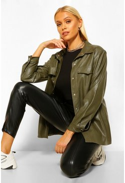 Khaki Faux Leather Shacket