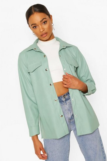 Sage Faux Leather Shacket