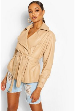 Stone Oversized Faux Leather Wrap Belted Jacket