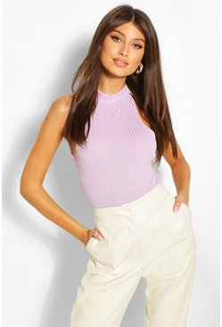 Lilac purple Ribbed High Neck Racer Bodysuit