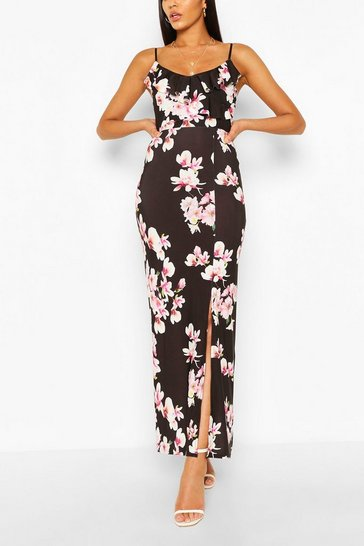 Black Floral Print Ruffle Maxi Dress