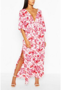 White Floral Kimono Sleeve Split Maxi Dress