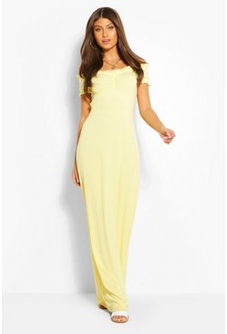 Lemon Rib Off Shoulder Ruffle Maxi Dress
