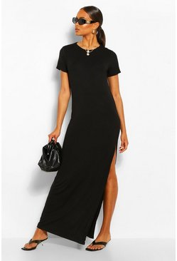 Black Split Short Sleeve Maxi Dress