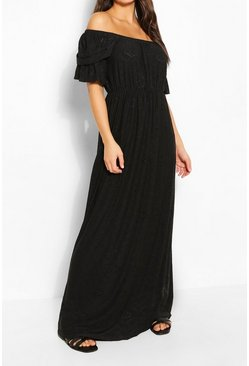 Black Jersey Broderie Off Shoulder Maxi Dress
