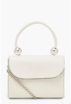 White Smooth PU Bead Structured Cross Body Bag