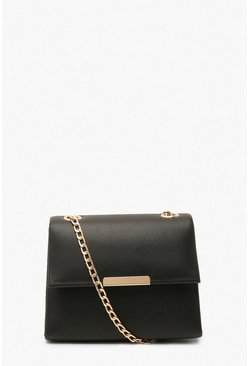 Black Smooth PU Structured Cross Body Bag & Chain
