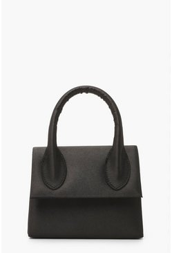 Black Satin Structured Handle Grab Bag & Chain