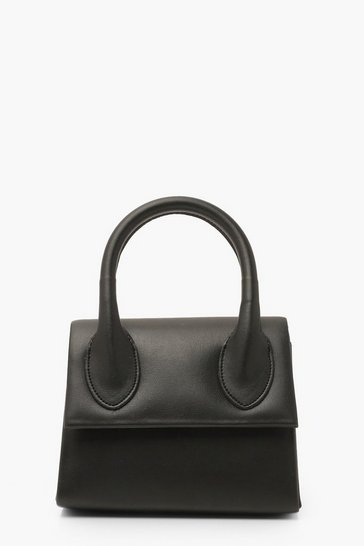 Black Structured Handle Detail Grab Bag With Strap