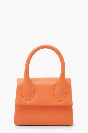 Orange Structured Handle Detail Grab Bag With Strap