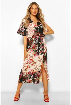 Black Floral Ruffle Detail Midaxi Dress