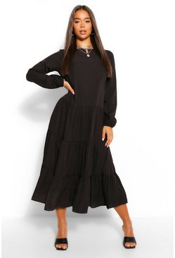 Black Woven Extreme Tiered Smock Dress