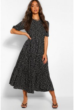 Black Splodge Print Puff Sleeve Tierred Midaxi Dress
