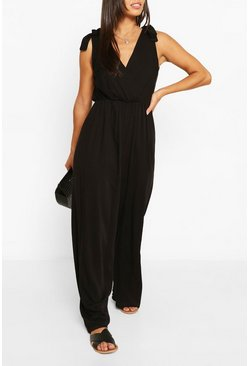 Black Woven Tie Shoulder Jumpsuit