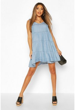 Light blue blue Chambray Tie Shoulder Tiered Shift Dress