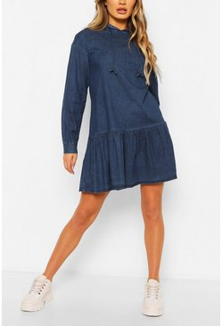 Mid blue blue Chambray Hooded Frill Detail Dress