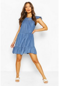 Mid blue blue Chambray Tierred Smock Dress