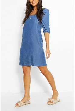Mid blue blue Chambray Shirred Back Shift Dress