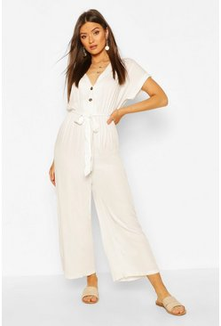 Ecru Woven Button Down Belted Jumpsuit