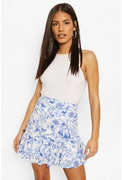 Ivory white Asymmetric Double Ruffle Mini Skirt