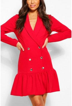 Red Puff Ball Hem Blazer Dress