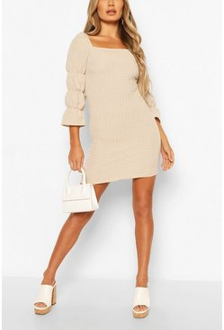 Stone Linen Look Square Neck Shirred Mini Dress