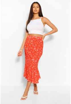 Drop Hem Floral Woven Midaxi Skirt, Red