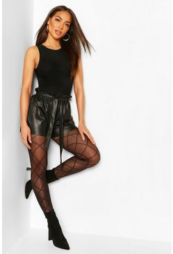 Black Diamond Print Fishnet Tights