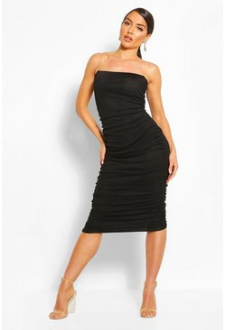 Clear Strap Ruched Mesh Midi Dress, Black
