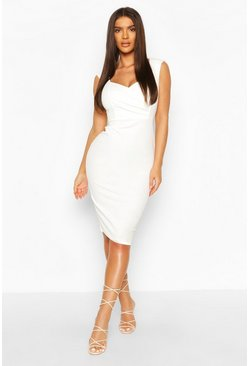 Sweetheart Wrap Crepe Bodycon Dress, White weiß