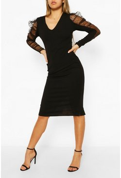 Black Dobby Mesh Organza Puff Sleeve Midi Dress