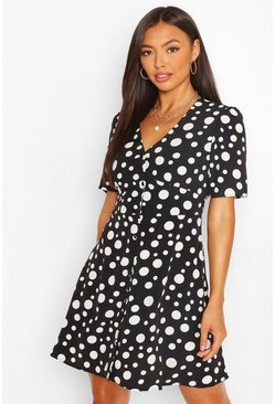 Black Button Through Polka Dot Skater Dress