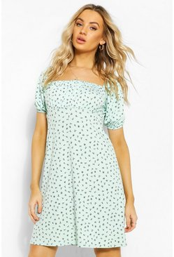 Mint green Ditsy Floral Square Neck Puff Sleeve Skater Dress