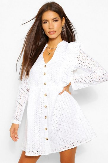 White Broderie Ruffle Detail Skater Dress