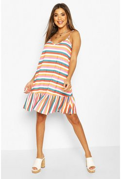 Multi Striped Swing Dress With Ruffle Hem