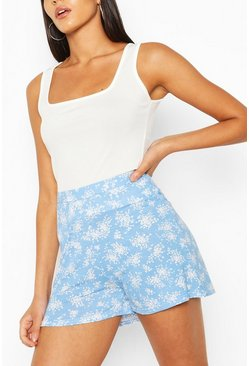 Blue Ditsy Floral Flippy Shorts
