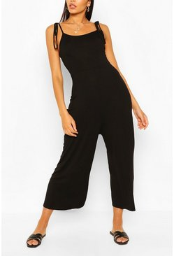 Black Tie Shoulder Jersey Jumpsuit