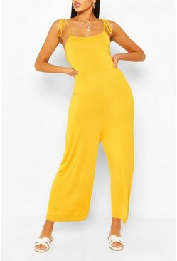 Chartreuse yellow Tie Shoulder Jersey Jumpsuit