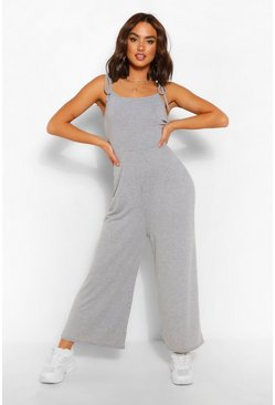 Grey marl Tie Shoulder Jersey Jumpsuit