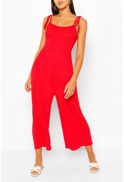 Red Tie Shoulder Jersey Jumpsuit