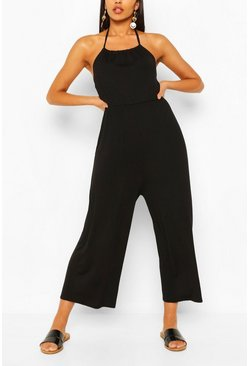 Black Strappy Jersey Jumpsuit